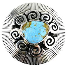Navajo Kee Yazzie Turquoise Sterling Silver Overlay Buckle