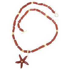 Vintage 18k Gold Coral Timeless Gem Long Necklace