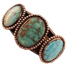 Native American Vintage Turquoise Silver Cuff-Bracelet