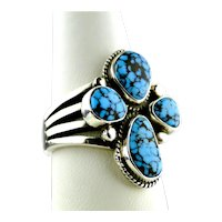 Native American Number Eight Spider Web Turquoise Sterling Silver Ring