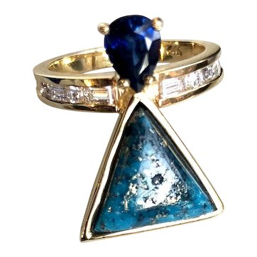 Artisan Diamond- Sapphire- Turquoise 14k Gold Ring