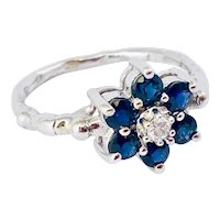 Diamond And Sapphire 14k Gold Flower Ring Handmade