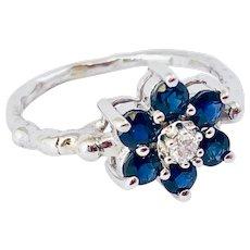 Diamond And Sapphire 14k Gold Flower Ring Handmade