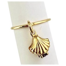 14k Gold Amethyst SeaShell Charm Ring Handmade