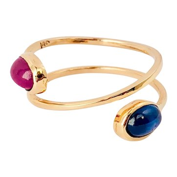 14k Yellow Gold Ruby And Sapphire Spiral-Ring Handmade