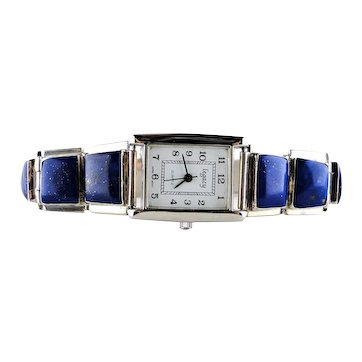 Native American Sterling Silver Lapis Lazuli Watch A M Lister