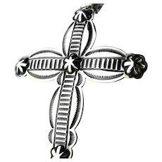 Native American Silver Repoussé Large Cross