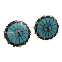 Zuni Sunface Sterling Silver Turquoise Earrings