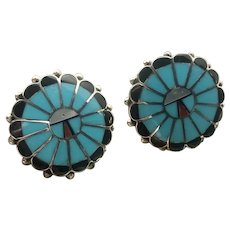 Zuni Sunface Sterling Silver Turquoise Earrings