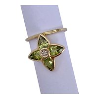 14k Yellow Gold Peridot Flower Ring Handcrafted