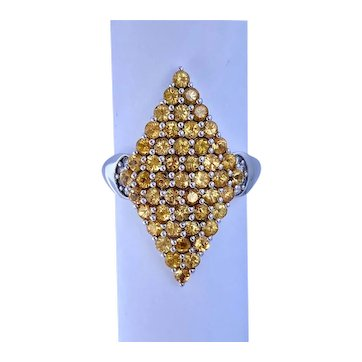 14k Gold Lance Fischer Ring 2.0 Carats Yellow Sapphire and Diamonds