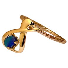14k Gold Australian Black Opal Handcrafted Ring