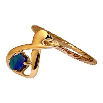 14k Gold Australian Black Opal Handcrafted Ring