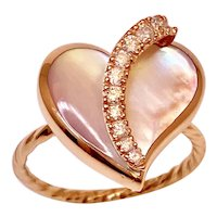 Diamond And Pink Mabee Pearl Heart Ring 14k Rose Gold