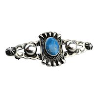 Native American Sterling Silver Bisbee Turquoise Pin