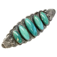 Native American Sterling Silver Turquoise Pin