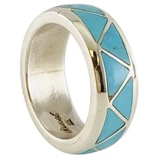 Native American Sterling Silver Inlay Turquoise Band Ring By Sanel