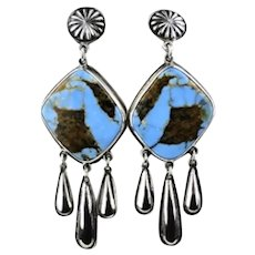 Native American Natural Turquoise Sterling Silver Long Dangle Earrings