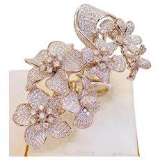 Sterling Silver Huge Statement Floral Cascade CZ Ring