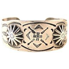 Southwestern Style Vintage Silver Bracelet Circa 1930's-1940's