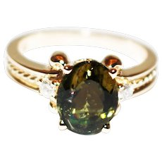 Rare Olive Green Tourmaline and Diamond Ring in 14 KT Gold