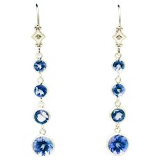 8CT Natural Tanzanite and Diamonds Line Earrings in 14KT White Gold