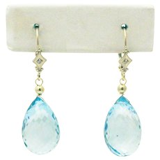 41CT Natural Blue Topaz with Diamonds Earrings 14KT Gold