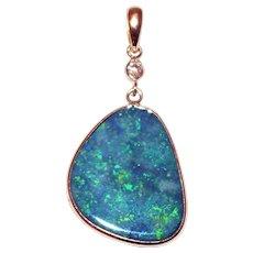 Handmade Natural  Australian Fiery Opal Diamond 18KT Yellow Gold Pendant