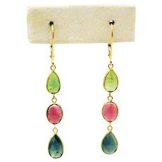 8.5CT Natural Rubelite, Chrome, Paraiba Blue Rose Cut Tourmaline Earrings in 18KT Gold