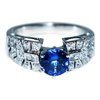 Royal Natural Tanzanite and Diamond Art Deco Ring in 18KT White Gold