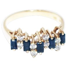 Unique Blue Sapphire Diamond Stackable Ring 14KT Yellow Gold