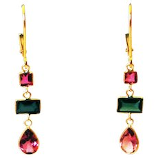 2.5CT Natural Chrome Green and Rubellite Pink Watermelon Tourmaline Earrings 18KT Gold