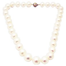14.5mm Round Genuine Cultured White South Sea Pearls 14KT Gold Diamond Necklace