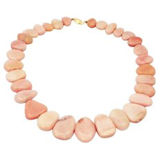 340 CT Natural Peruvian Pink Opal Necklace 14KT Yellow Gold