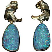 Natural Australian Opal and Diamonds Earrings in 14KT Yellow Gold