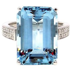 23 CT Emerald Cut Aquamarine and Diamond Ring in Platinum