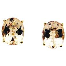 6.5CT Natural Pink Morganite Stud Earrings in 14KT Yellow Gold