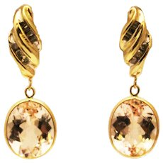 7CT Natural Pink Morganite and Diamond Earrings