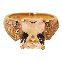 Unique Elegant Natural Morganite Diamond Cocktail Ring in 14KT Gold