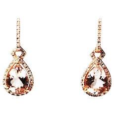 4CT Natural Pink Morganite and Diamond Earrings in 14 KT Rose Gold