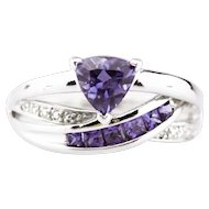 Modern Natural Tanzanite and Diamond Ring in 10KT White Gold