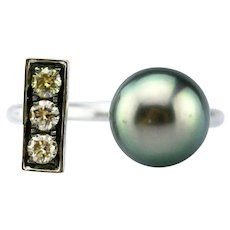 18KT White Gold 9 mm Natural Tahitian Pearl Champagne Diamond Open Ring