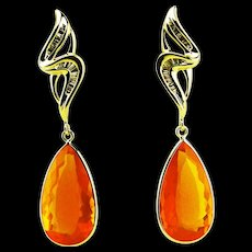 Amazing Rare Natural 37CT Mexican Fire Opal Diamond 14KT Yellow Gold - Red Tag Sale Item