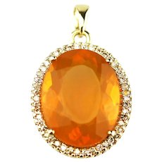 Elegant 11 CT Mexican Fire Opal Diamond 14KT Gold Pendant