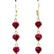 2.5CT Natural Rubellite Raspberry Pink Tourmaline Heart Cut Earrings 18KT Gold