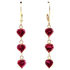 2.5CT Natural Rubellite Raspberry Pink Tourmaline Heart Cut Earrings 18KT Gold