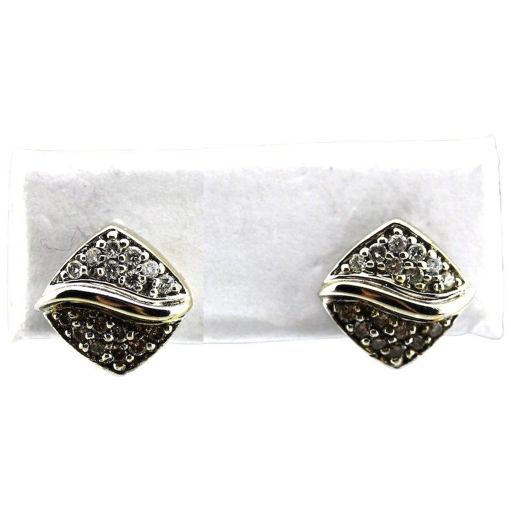 Natural Chocolate And White Diamond Earrings 18kt Gold