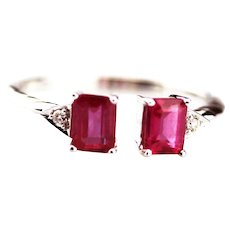 Modern Natural Ruby and Diamond Ring in 14KT Gold