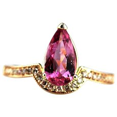 Bubble Gum Pink Tourmaline Diamond Ring in 14KT Rose Gold