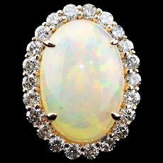 Gorgeous Natural Ethiopian Opal and Diamonds Ring in 14KT Rose Gold - Red Tag Sale Item